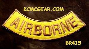 """AIR BORNE Gold on Yellow Back Patch Bottom Rocker for Biker Veteran Vest 10"""""""