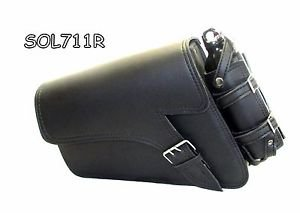 Motorcycle Leather single strap swingarm bag 2 Pin buckle three fixed strap