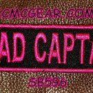 ROAD CAPTAIN Pink on Black Small Badge for Biker Vest jacket Motorcycle Patch
