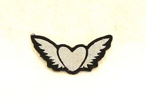 Winged heart Silver on black Small Badge Biker Vest Jacket Motorcycle Patch