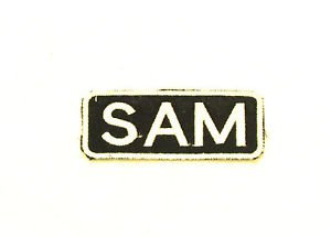 SAM  Name Tag Patch Iron on or sew on for Shirt Jacket Vest New Name Patches