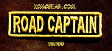 ROAD CAPTAIN YELLOW ON BLACK Small Badge for Biker Vest jacket Motorcycle Patch