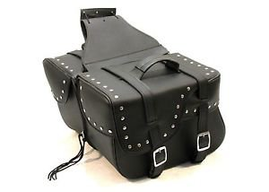 Saddlebag ZIP off STUDDED Two strap with quick release buckles Shielded bottom
