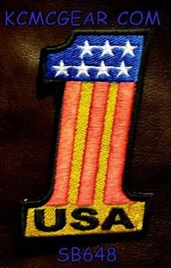 USA 1 Red white yellow and blue Small Badge for Biker Vest Motorcycle Patch