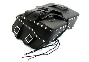 Motorcycle Saddlebag Zip off Studded Two strap with quick release buckles Shield