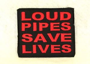 LOUD PIPES SAVE LIVES Small Badge for Biker Vest Jacket Motorcycle Patch