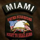 MIAMI and NEVER SURRENDER Small Badge Patches Set for Biker Vest Jacket