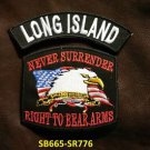 LONG ISLAND and NEVER SURRENDER Small Badge Patches Set for Biker Vest Jacket