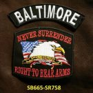 BALTOMORE and NEVER SURRENDER Small Badge Patches Set for Biker Vest Jacket