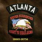 ATLANTA and NEVER SURRENDER Small Badge Patches Set for Biker Vest Jacket