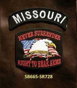 MISSOURI and NEVER SURRENDER Small Badge Patches Set for Biker Vest Jacket