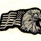 Eagle and flag White on black Small Badge for Biker Vest Jacket Patch SB733