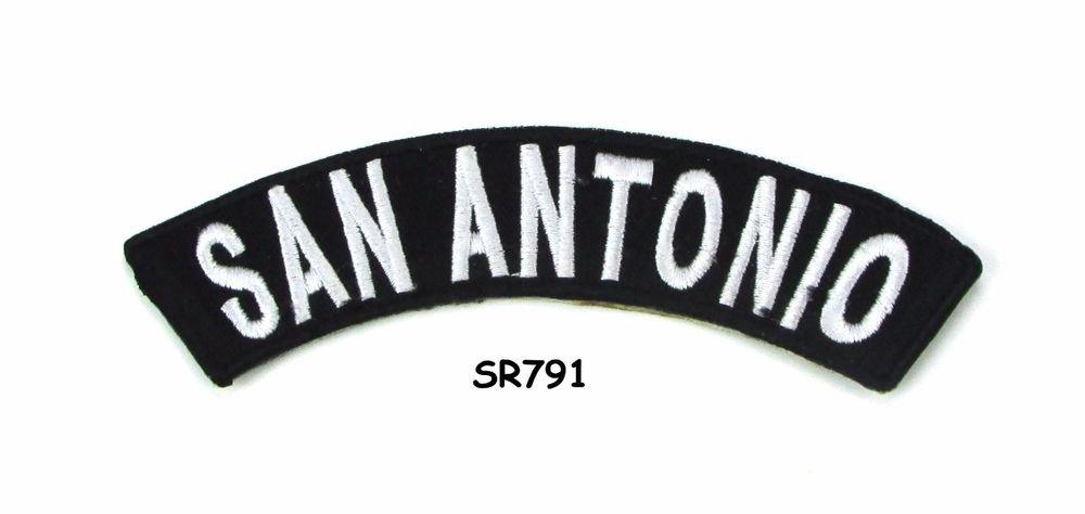 San Antonio White on Black Small Rocker Iron on Patches for Biker Vest Jacket