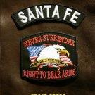 SANTA FE  and NEVER SURRENDER Small Badge Patches Set for Biker Vest Jacket