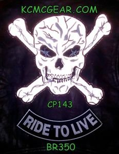 SKULL CROSS BONES and RIDE TO LIVE Small Badge Patches Set for Biker Vest Jacket