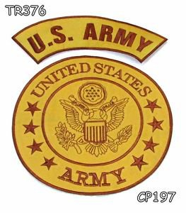 U.S.Army Center and Top Rocker Brown Iron on 2 Patches Set for Biker Jacket