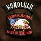 HONOLULU and NEVER SURRENDER Small Badge Patches Set for Biker Vest Jacket