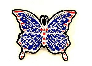 Butterfly American Flag Small Badge for Women Biker Vest Jacket Patch SB737