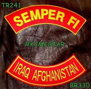 SEMPER FI IRAQ AFGHANISTAN Brown on Red Back Military Patches Set Biker Vest