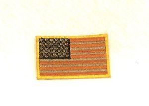 US Flag Orange brown and black with gold Small Badge Biker Vest Motorcycle Patch