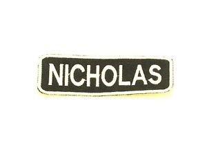 NICHOLAS White on Black Iron on Name TAG Patch for Biker Vest Jacket NB239