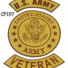 ARMY VETERAN Brown on Gold Iron on 3 Patches Set for Biker Jacket