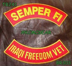 SEMPER FI IRAQI FREEDOM VET Brown on Red Back Military Patches Set Biker Vest