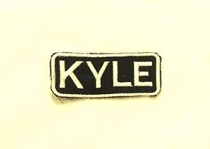 KYLE White on Black Iron on Name TAG Patch for Biker Vest Jacket NB236