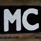 MC White on Black Small Badge for Biker Vest Jacket Motorcycle Patch