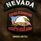 NEVADA and NEVER SURRENDER Small Badge Patches Set for Biker Vest Jacket