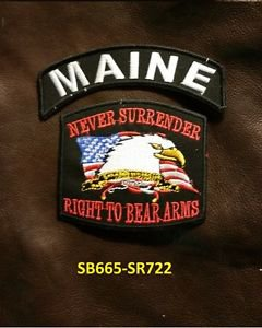 MAINE and NEVER SURRENDER Small Badge Patches Set for Biker Vest Jacket