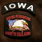 IOWA  and NEVER SURRENDER Small Badge Patches Set for Biker Vest Jacket