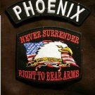 PHOENIX and NEVER SURRENDER Small Badge Patches Set for Biker Vest Jacket