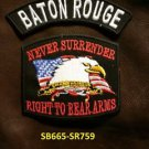 BATON ROUGE and NEVER SURRENDER Small Badge Patches Set for Biker Vest Jacket