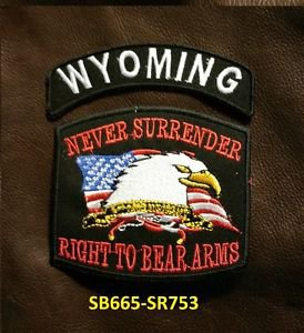 WYOMING and NEVER SURRENDER Small Badge Patches Set for Biker Vest Jacket