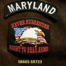 MARYLAND and NEVER SURRENDER Small Badge Patches Set for Biker Vest Jacket