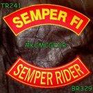 SEMPER FI SEMPER RIDER Brown on Red Back Military Patches Set Biker Vest