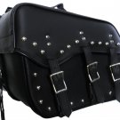 Genuine Cowhide Leather Motorcycle Saddlebags 3 strap for harley dyna and softai