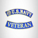 U.S Navy Veteran Iron on 2 Patches Set Sew on for Vest Jacket