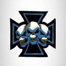 Blue and White Maltese cross with Three Skulls Small Patch Iron on for Biker Ves