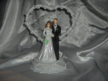 Wedding Cake Topper with Faux White Pearls HP3734