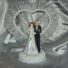 Wedding Cake Topper with Organza and plastic Pearl trim HP3741