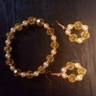 Multi yellow and gold bracelet and earring set