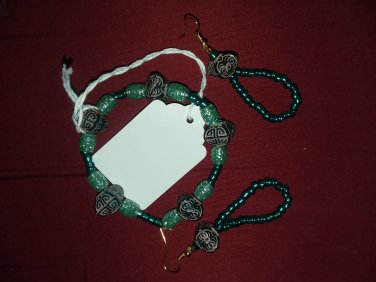 Multi green and turquoise jewelry set