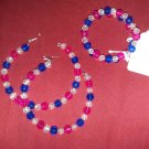 Pink, clear and blue jewelry set
