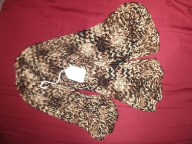 Multi brown ribbed scarf