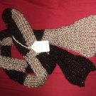 Black with silver sequins and gray scarf