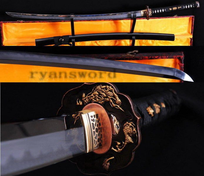 Japanese Shihozumi Full Tang Clay Tempered Katana Sword  Abrasive With Copper Tsuba