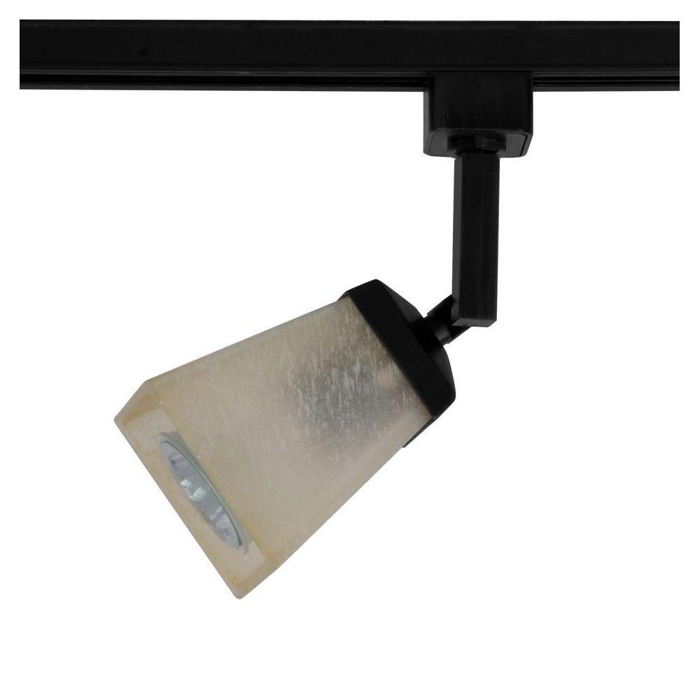 Hampton Bay EC4188BK 1-Light Matte Black Linen Glass Linear Track Lighting Head