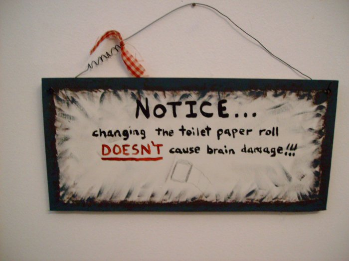 changing the toilette paper...